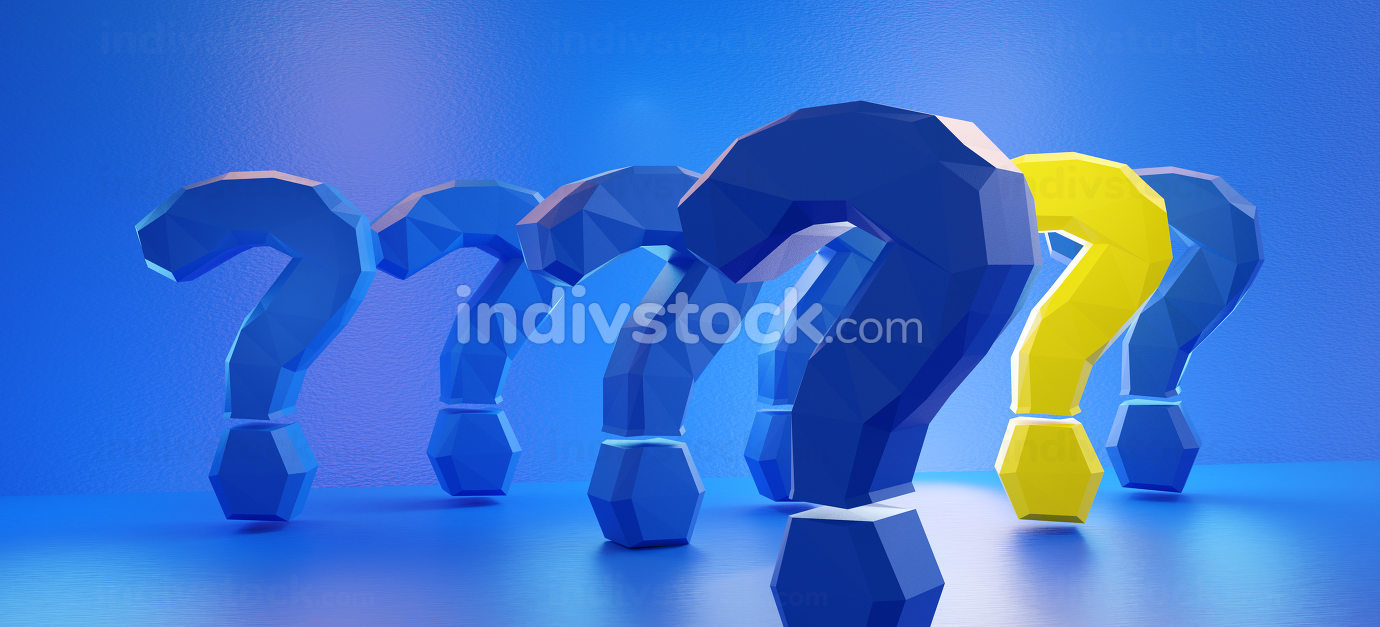 concept of the colors of Europe and questions marks 3d-illustration