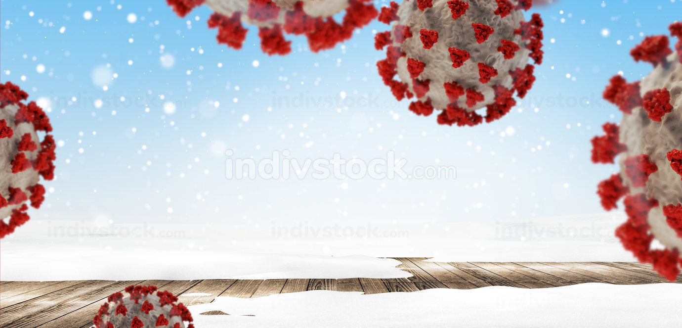 concept of winter season background and covid-19 virus cells 3d-