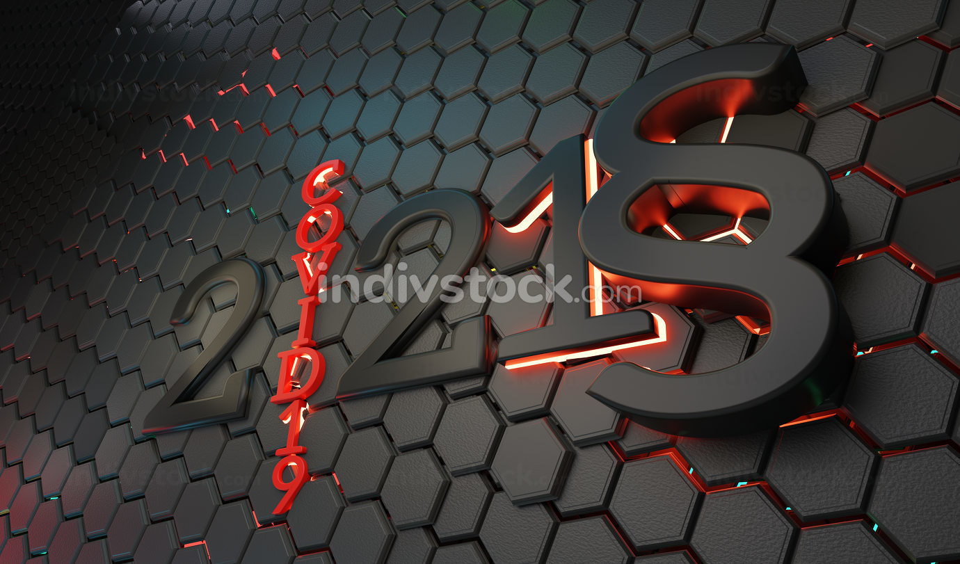 concept of year 2021 creative abstract hexagonal paragraph law b
