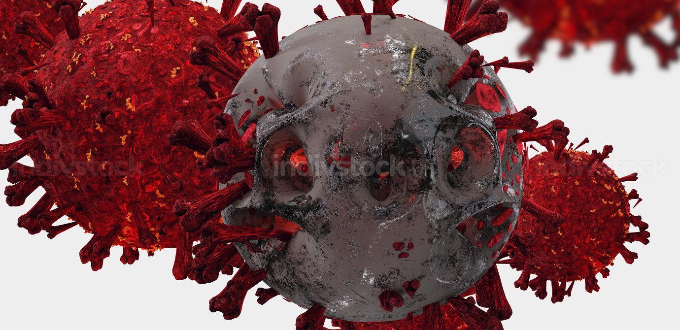 Coronavirus covid-19 as abstract evil virus cell 3d-illustration