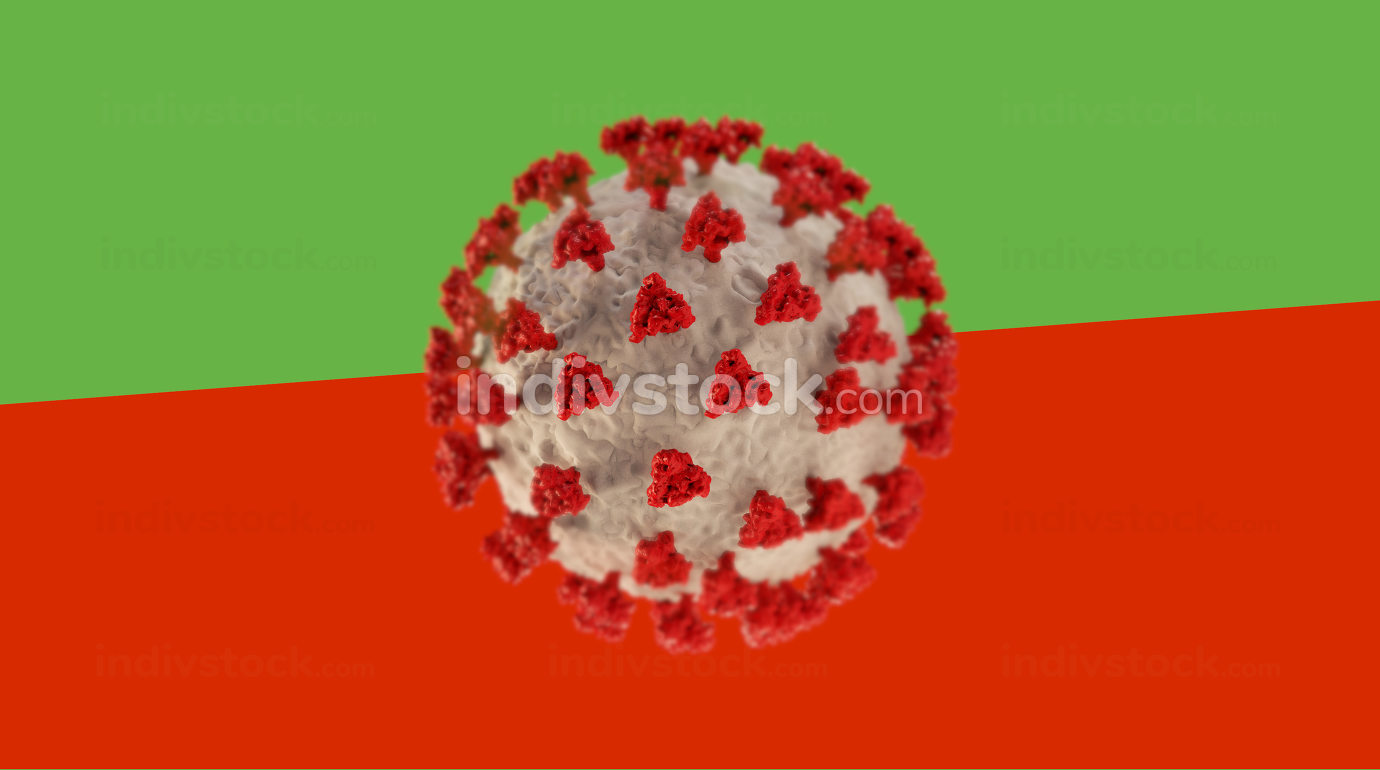 covid-19 virus cell on green and red background 3d-illustration