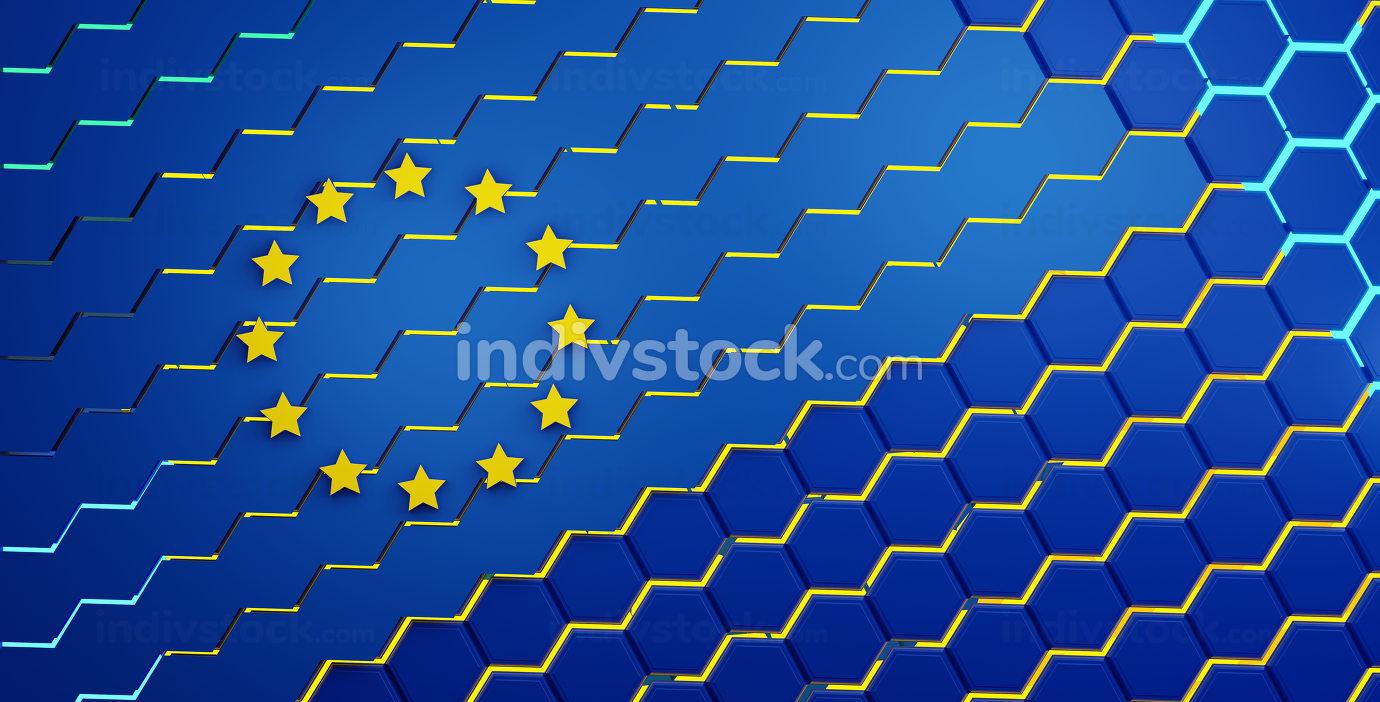creative abstract Europe design background, hexagonal grid lights EU illustration background 3d-illustration