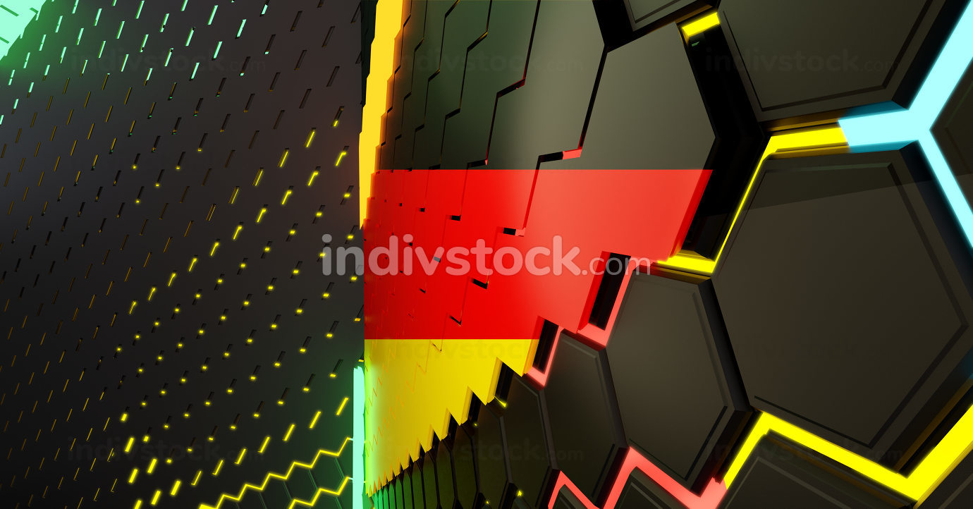 creative abstract Germany design background, hexagonal grid lights illustration background 3d-illustration