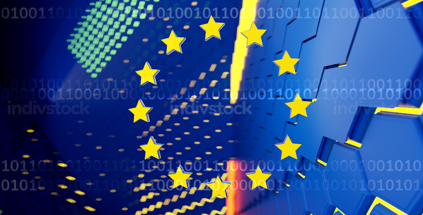 creative concept of the flag of Europe and binary code, background 3d-illustration