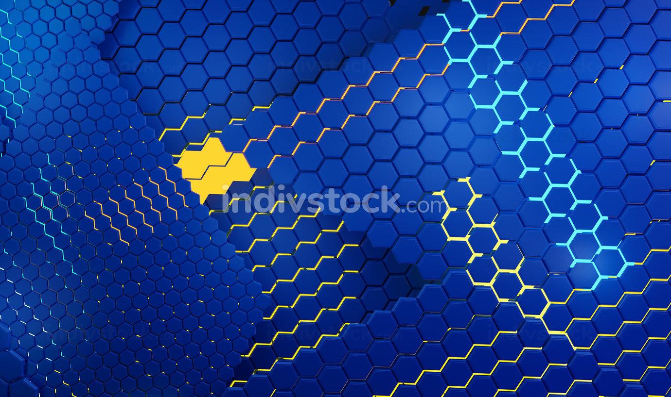 creative hexagonal Europe background design 3d-illustration