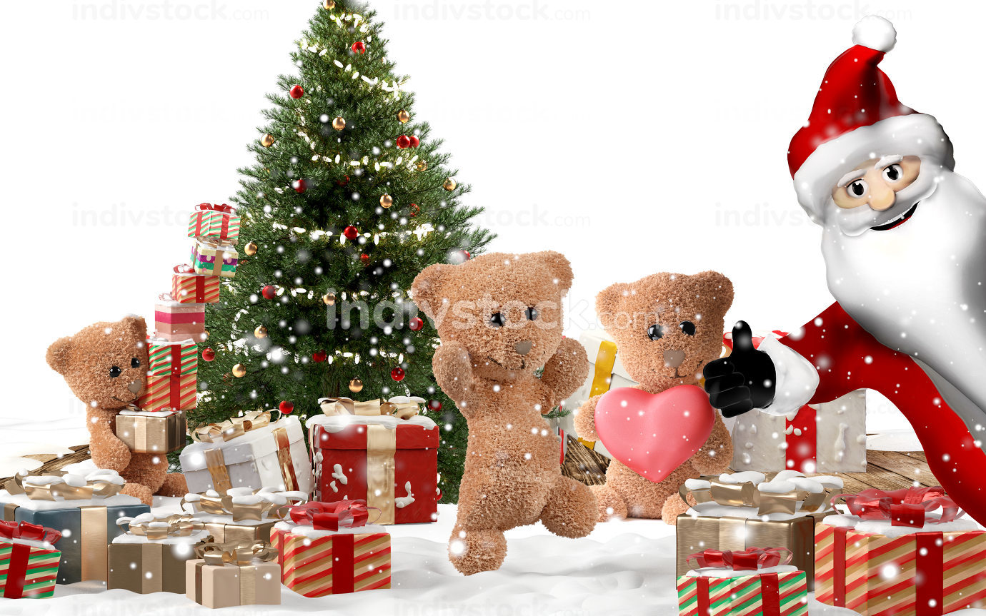 cute teddy bears and happy Santa Claus with christmas gifts and