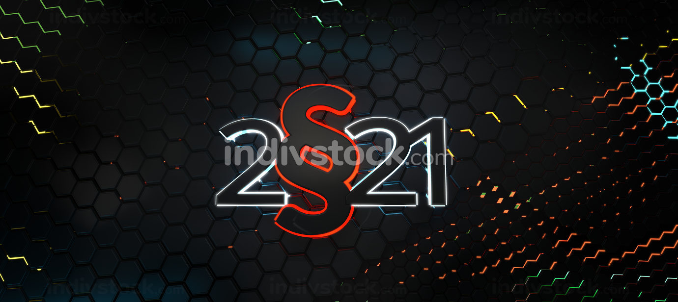 dark red light paragraph combined with 2021 bold letters hexagons modern design 3d-illustration