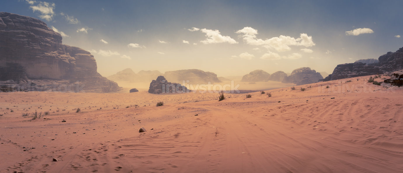 Desert scene at Wadi Rum, Jordan, light sand storm in the distance