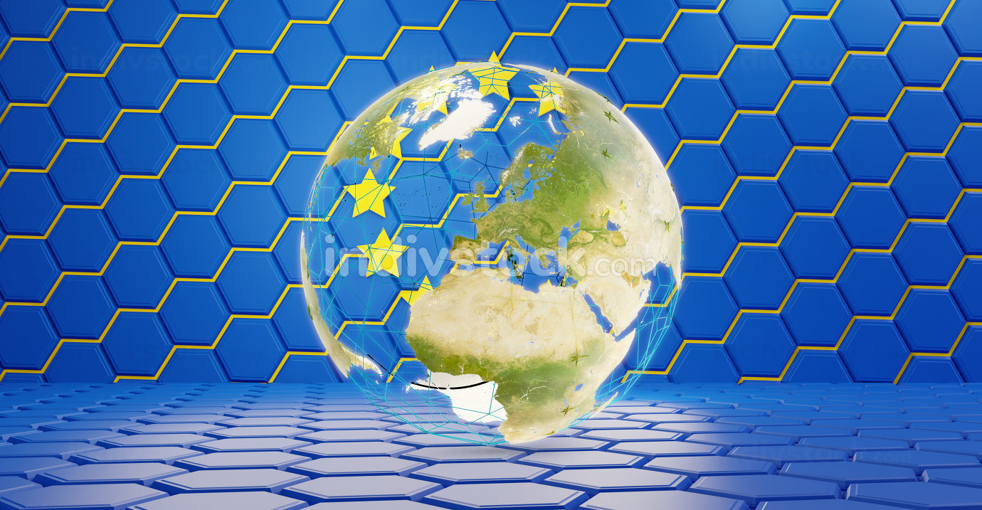 design of Europe 3d-illustration with globe. hexagonal pattern. elements of this image furnished by NASA