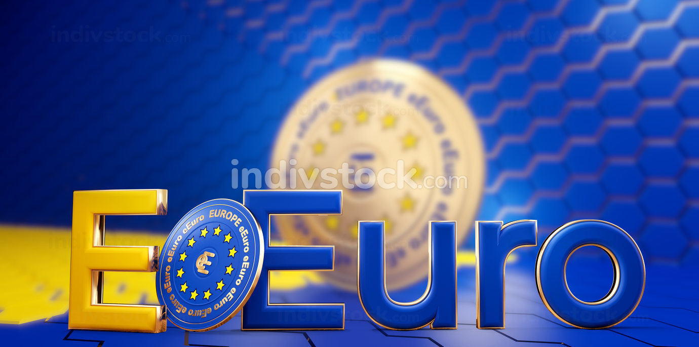e-euro digital concept of Europe. digital currency of Europe creative abstract design 3d-illustration