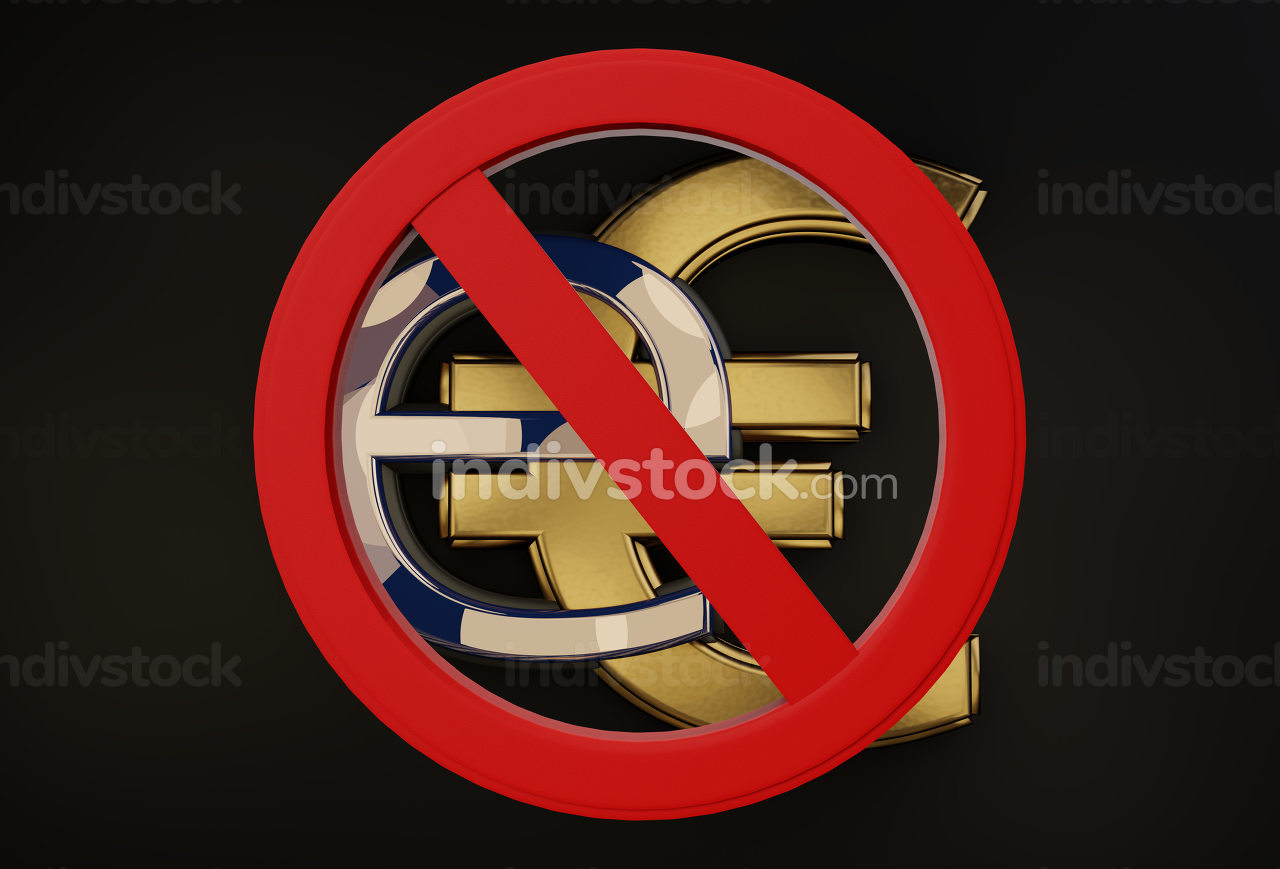eEuro symbol and Prohibition sign 3d-illustration