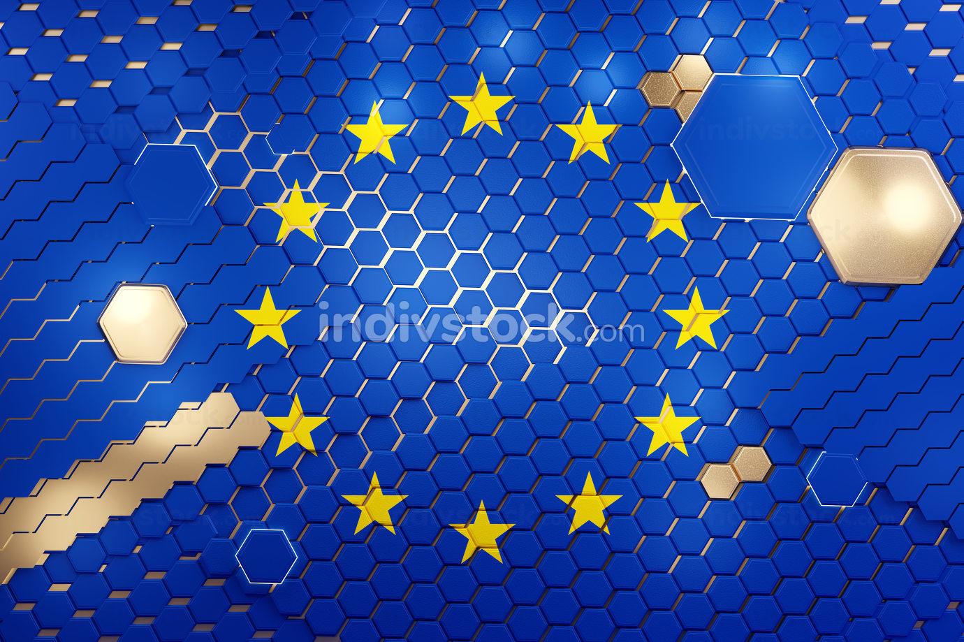 Europe EU hexagonal grid pattern design 3d-illustration backgrou
