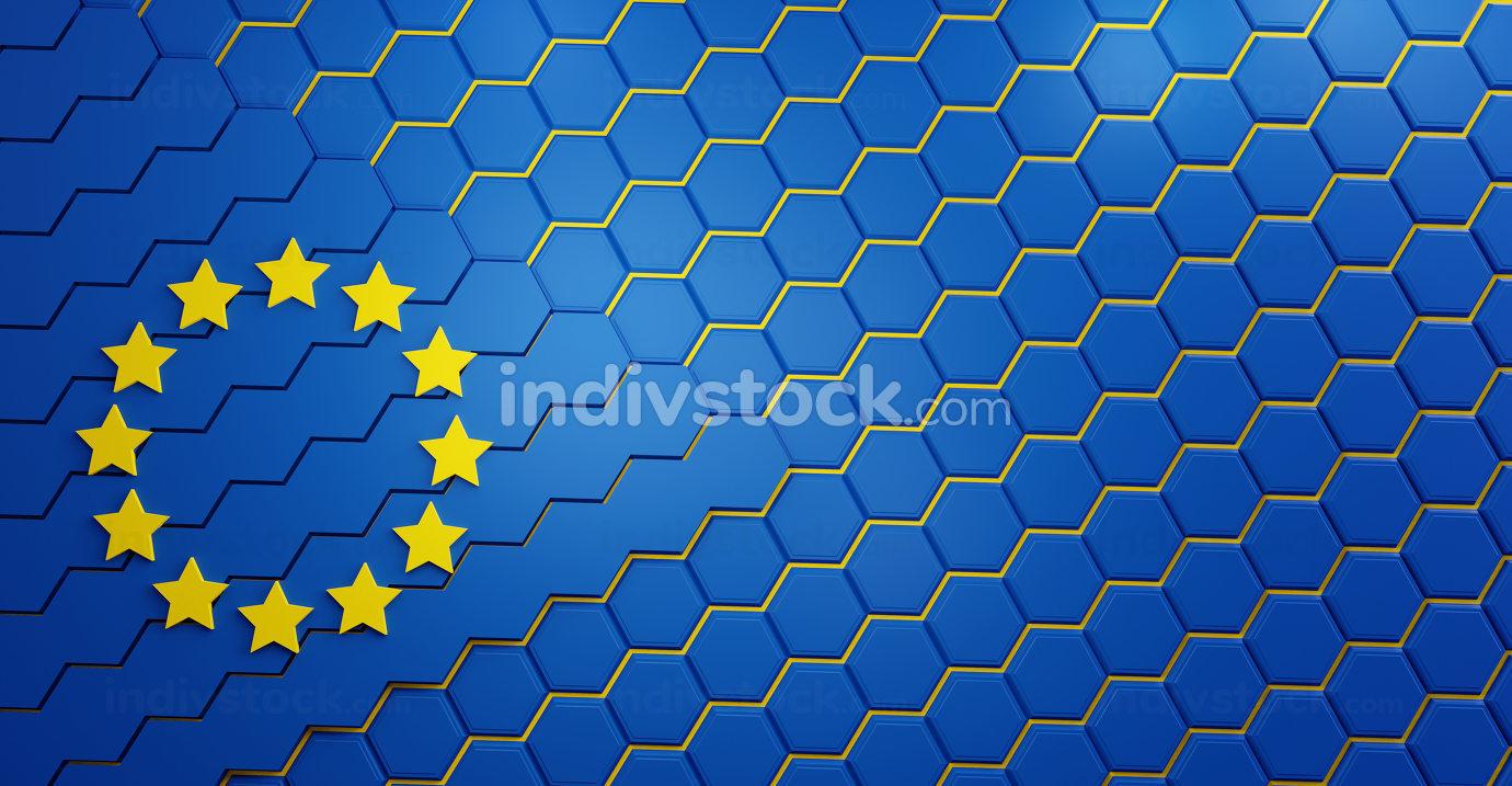 Europe grid background hexagonal EU 3d-illustration