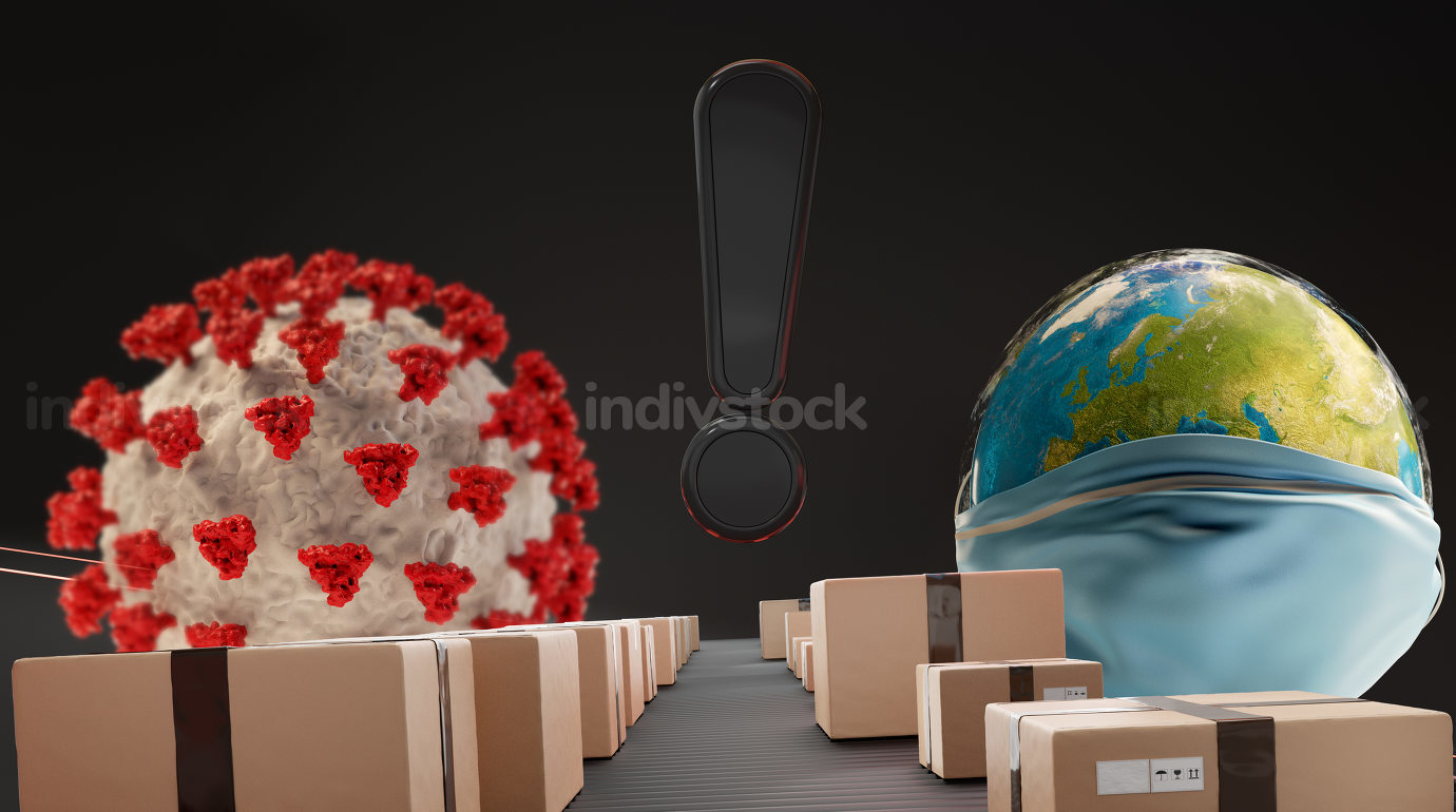 exclamation mark and earth. parcels packages on conveyor belt 3d
