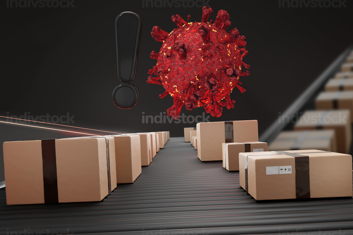 exclamation mark and red virus cell. parcels packages on conveyo