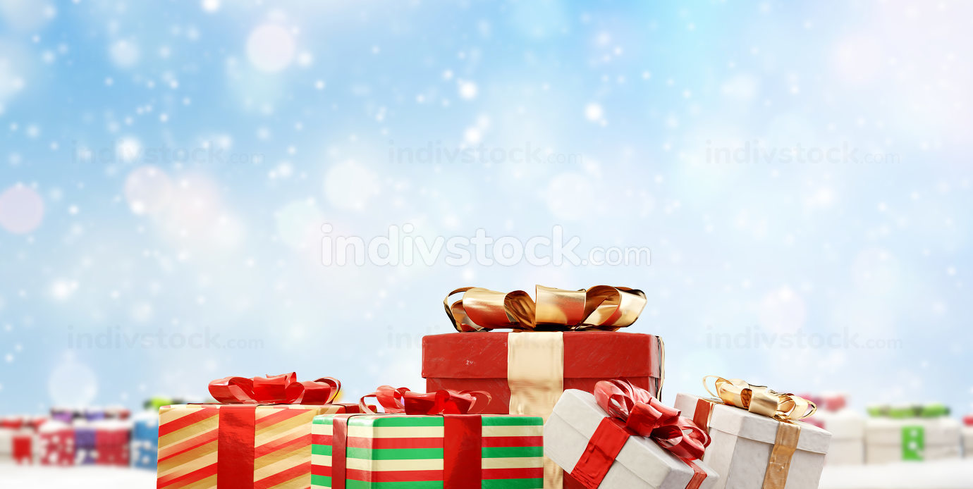 festive christmas gifts 3d-illustration background