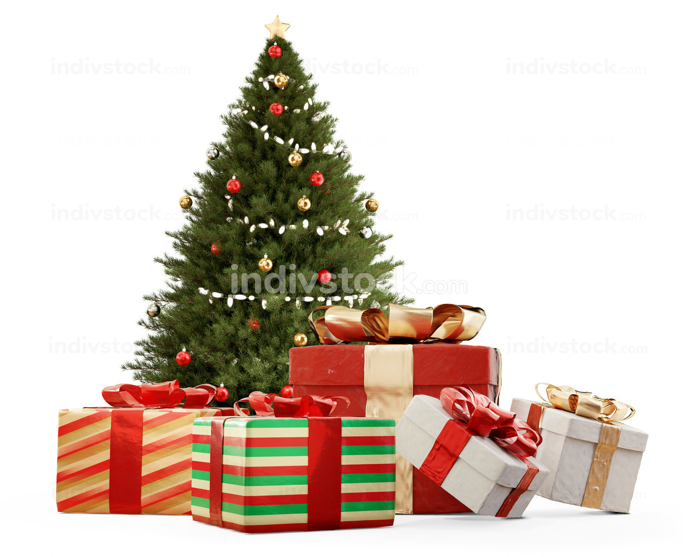 festive Christmas gifts. presents 3d-illustration background