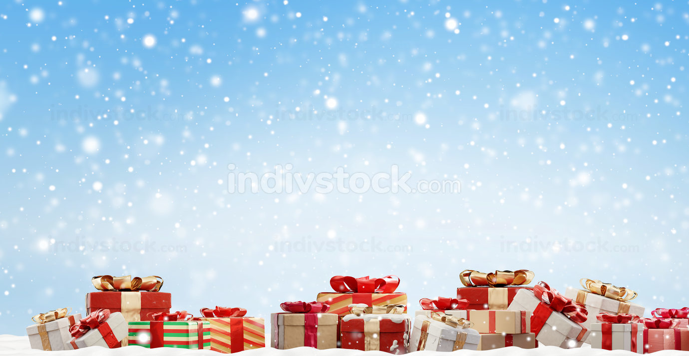 festive Christmas presents background 3d-illustration