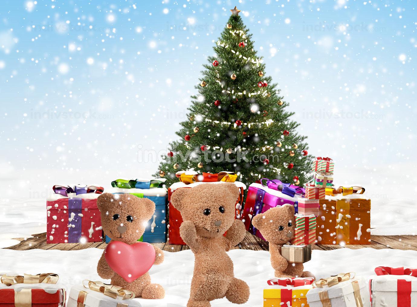 festive cute teddy bears with christmas presents 3d-illustration