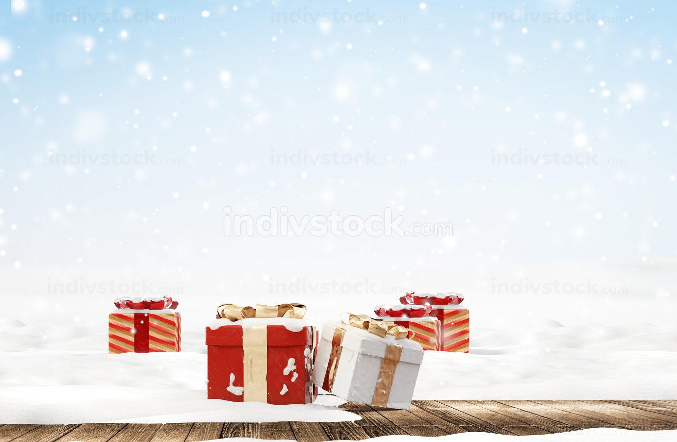 festive golden christmas gifts on white snow covered wooden ground 3d-illustration