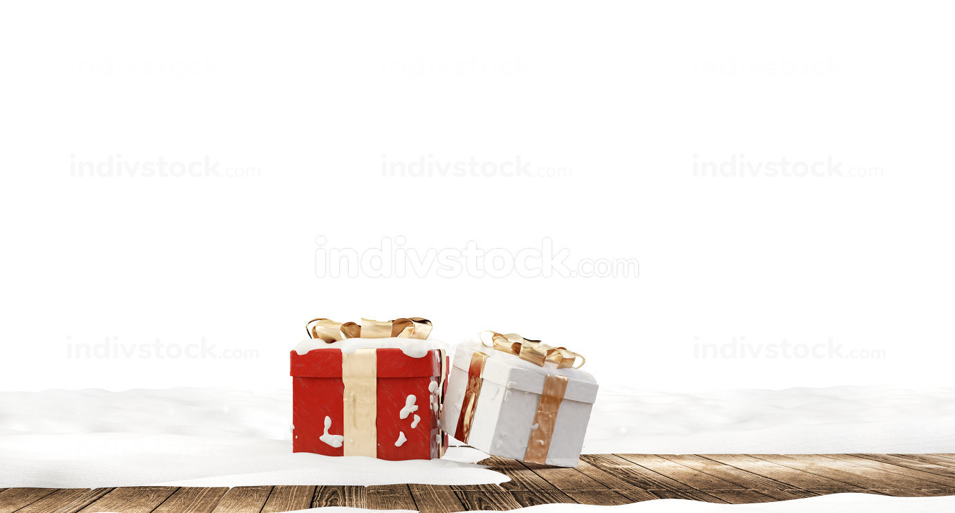 festive golden christmas gifts on white snow covered wooden ground 3d-illustration
