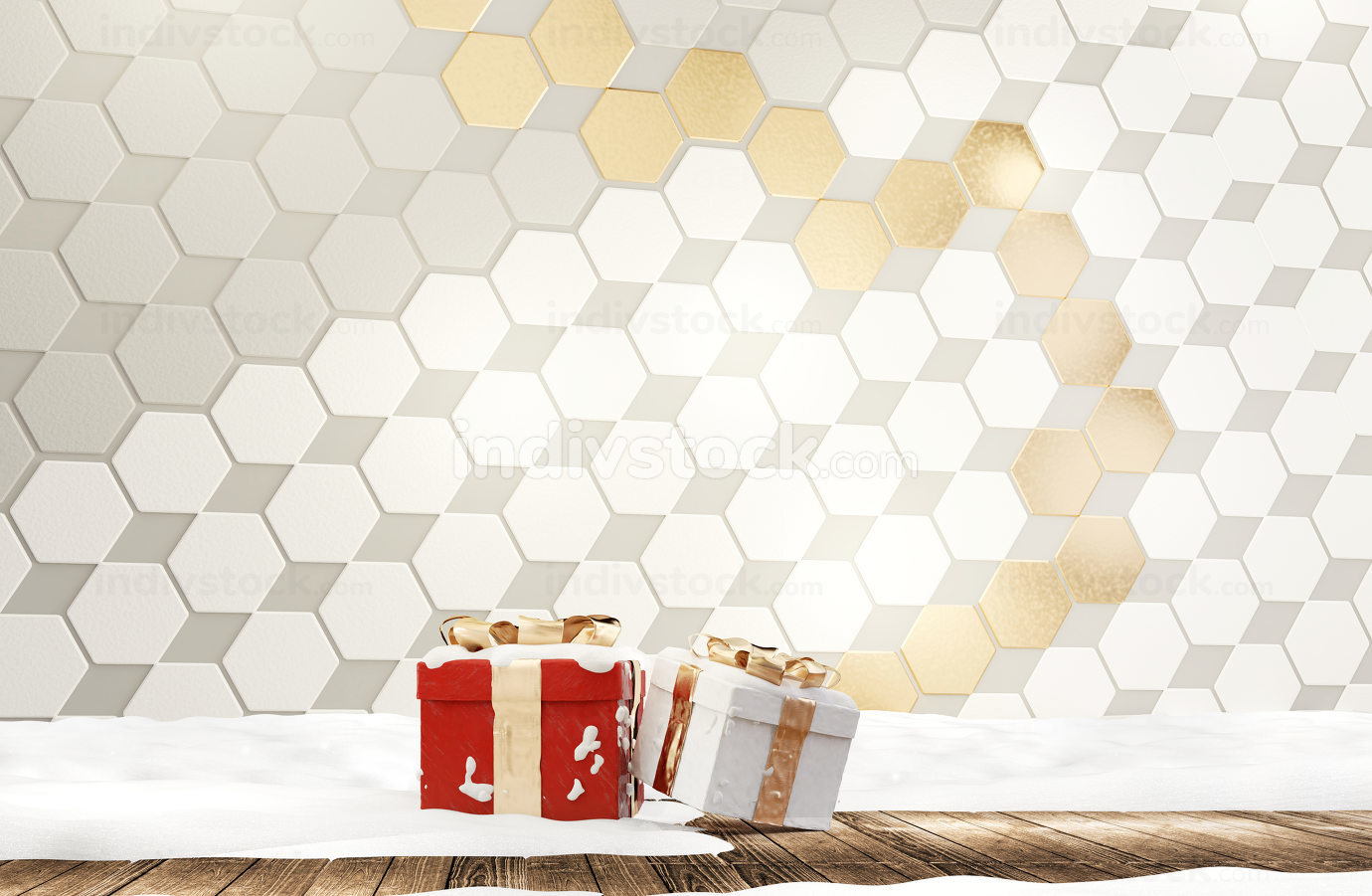 golden white and light gray hexagonal grid background with christmas gifts and snow 3d-illustration