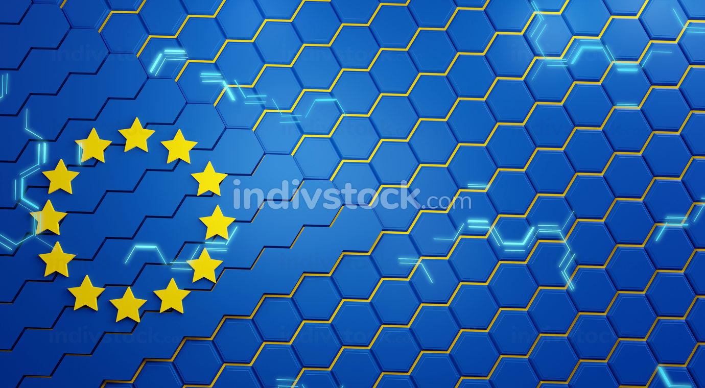 hexagonal structure background. colors of the flag of Europe and light blue lights 3d-illustration