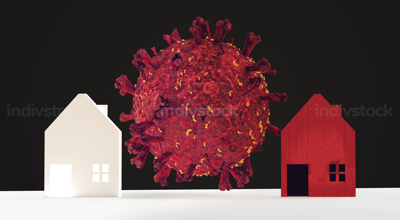 houses coronavirus covid-19 quarantine or separated from each other or distance 3d-illustration