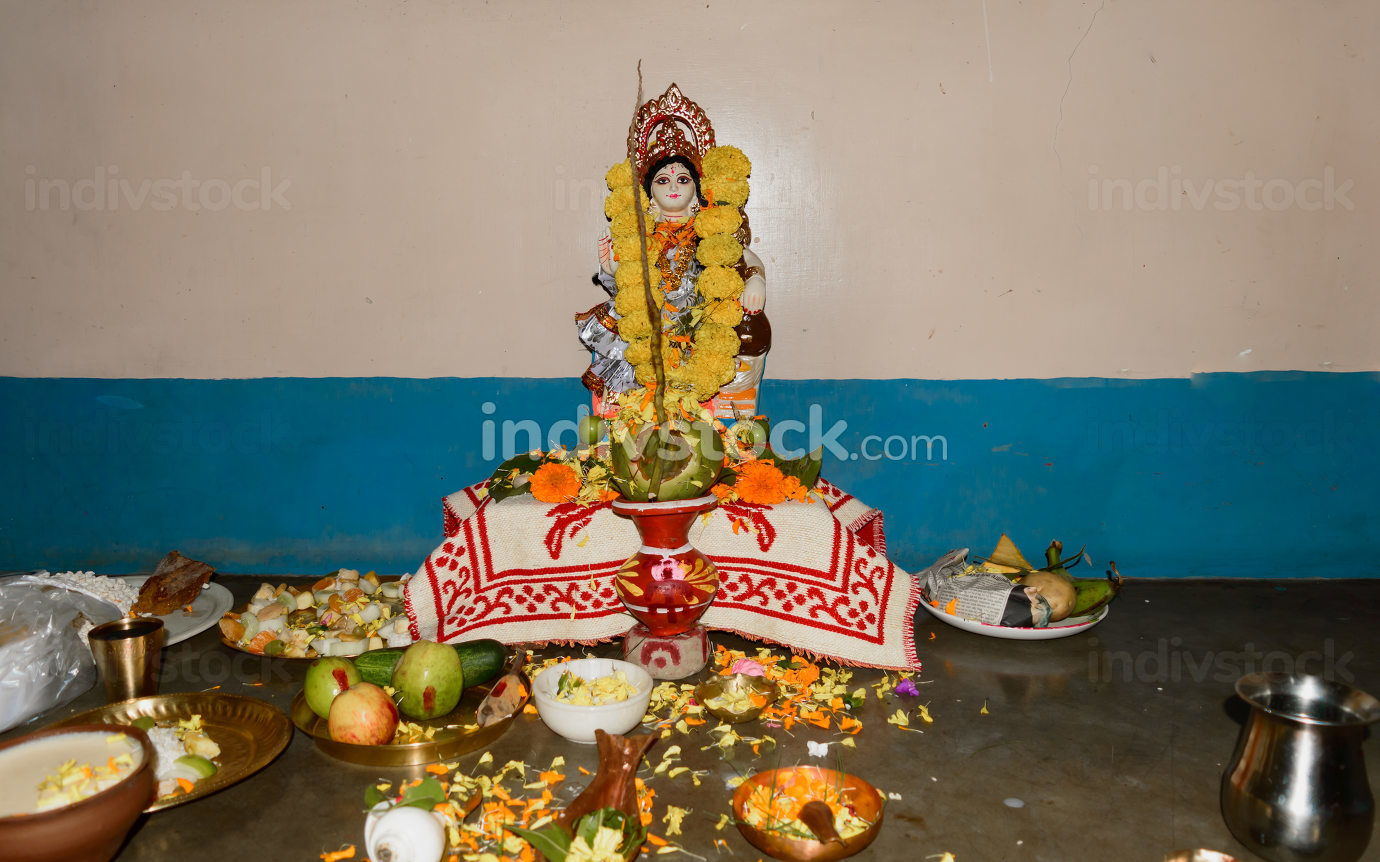 Kolkata, India, 16 February 2021, Vasant Panchami or Sarasvati Puja in honor of Saraswati, goddess of knowledge, language, music and all arts. Its is also a festival celebration for arrival of spring