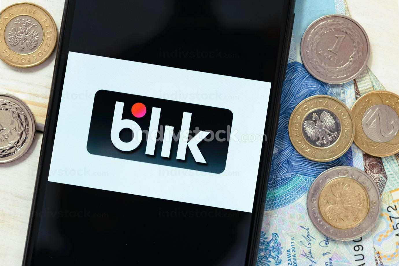 Krakow, Poland - October 20, 2020:  Blik sign on the smartphone screen