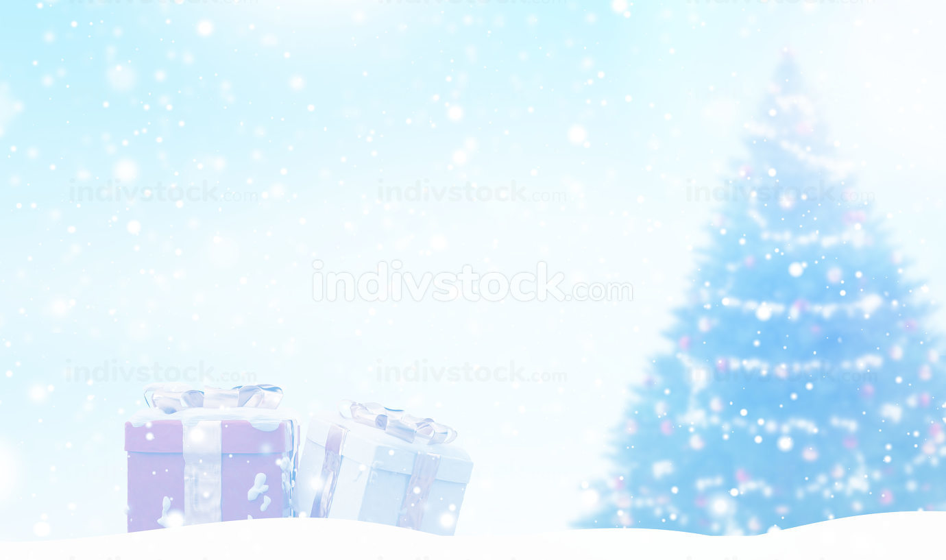 light blue outdoor christmas gifts and tree 3d-illustration