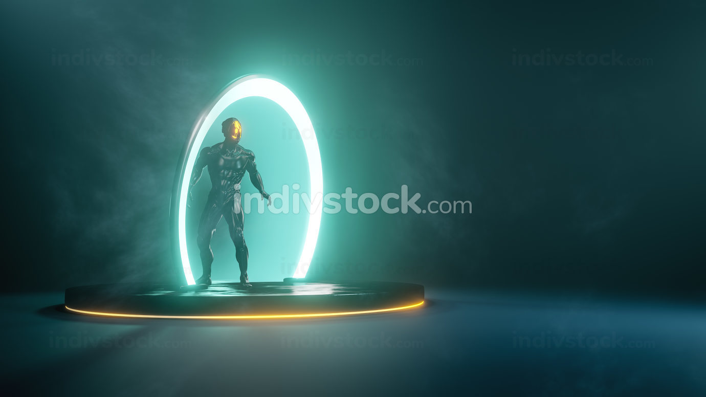 male person in science fiction portal ring