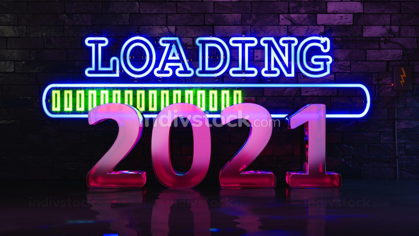 Neon lights loading new year 2021, 3D illustration