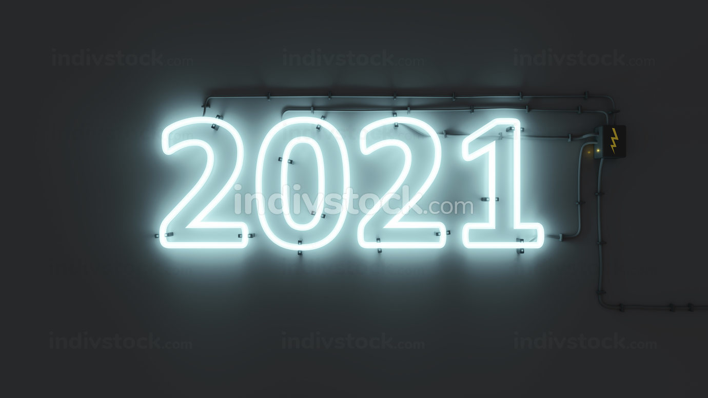 neon lights sign New Year 2021