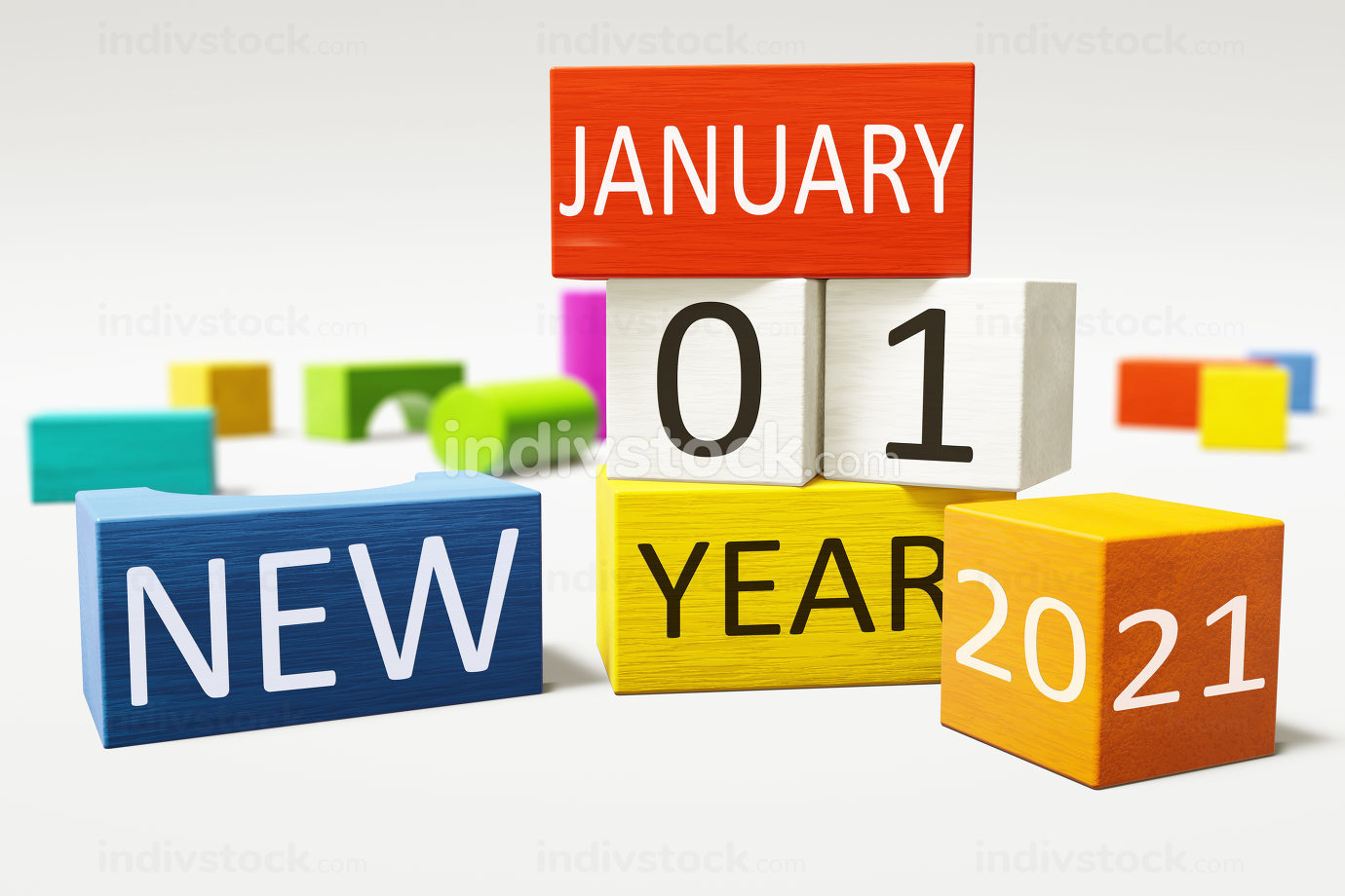 new year january thirst 2021 colorful building blocks