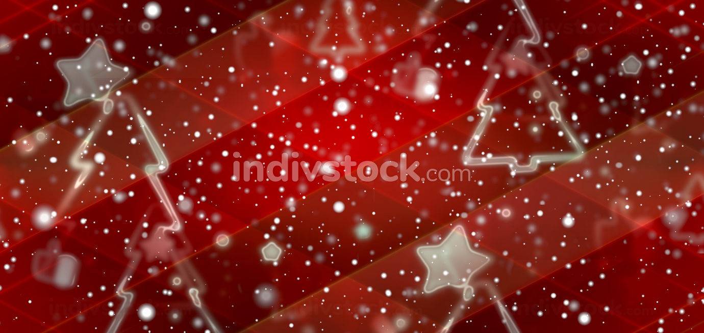outline silhouette of fir tree with stars and snowflakes and thumbs up 3d-illustration