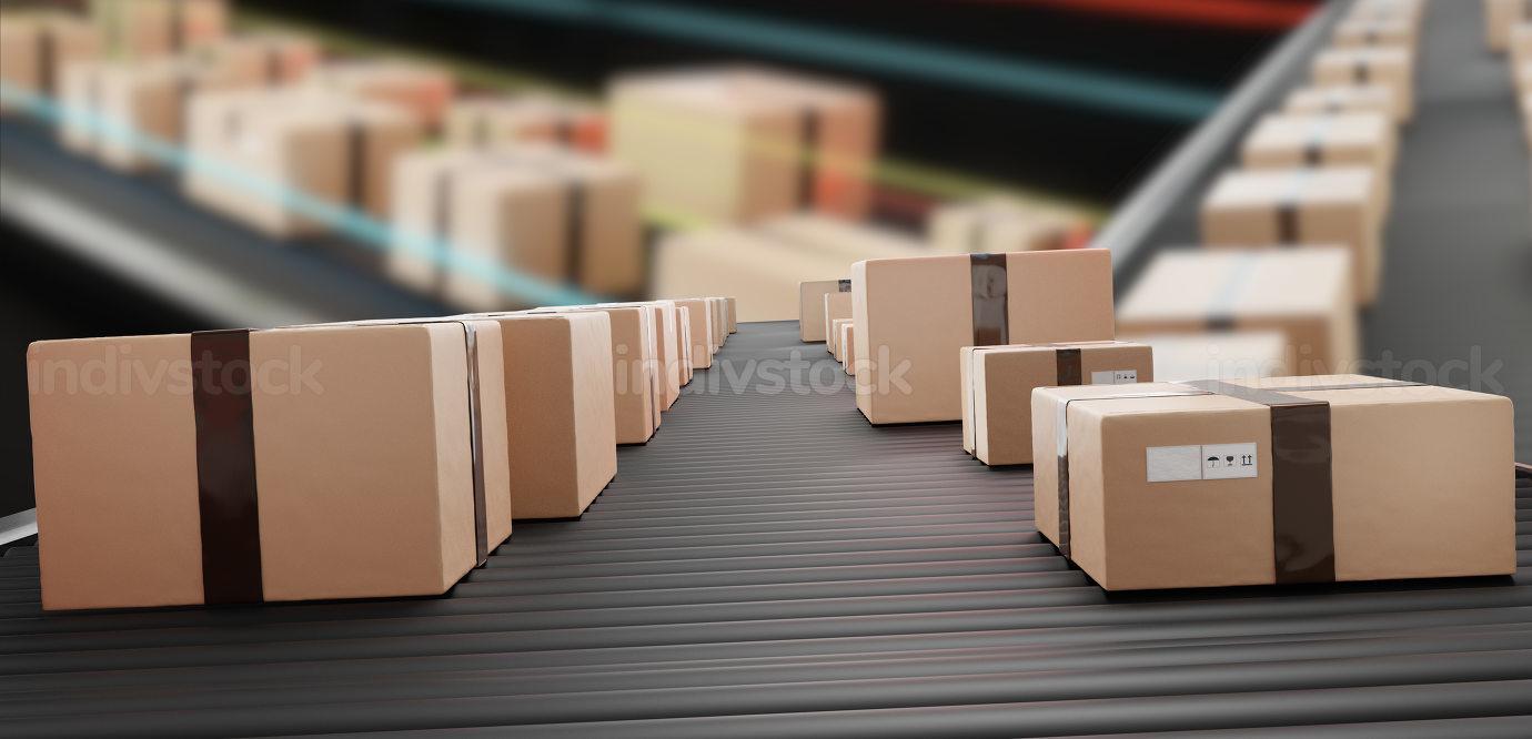 parcels packages on conveyor belt 3d-illustration
