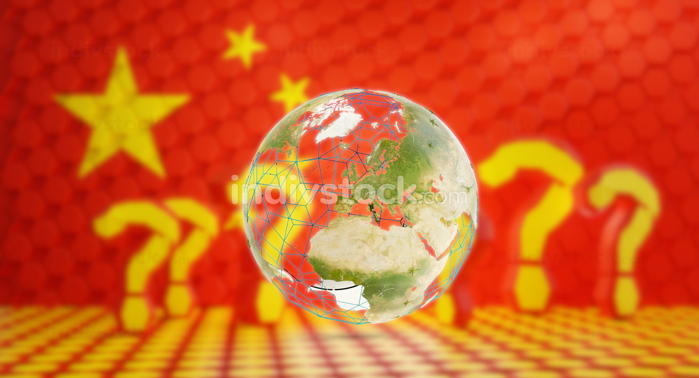 question mark hexagonal design background as concept of Europe and Coronavirus Covid-19. 3d-illustration