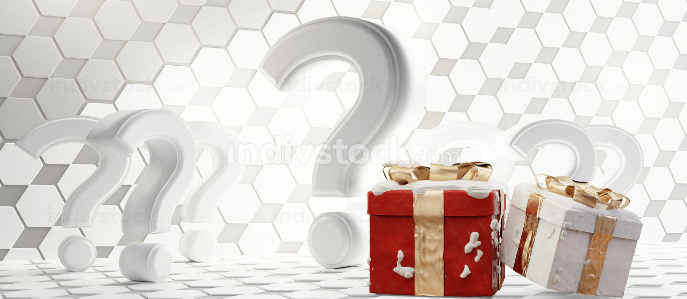 question marks hexagonal design with festive christmas gifts 3d-
