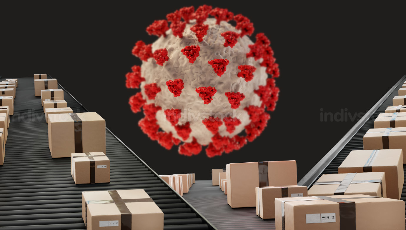 red virus cell. parcels packages on conveyor belt 3d-illustratio