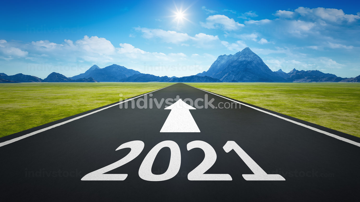 road to horizon with new year 2021