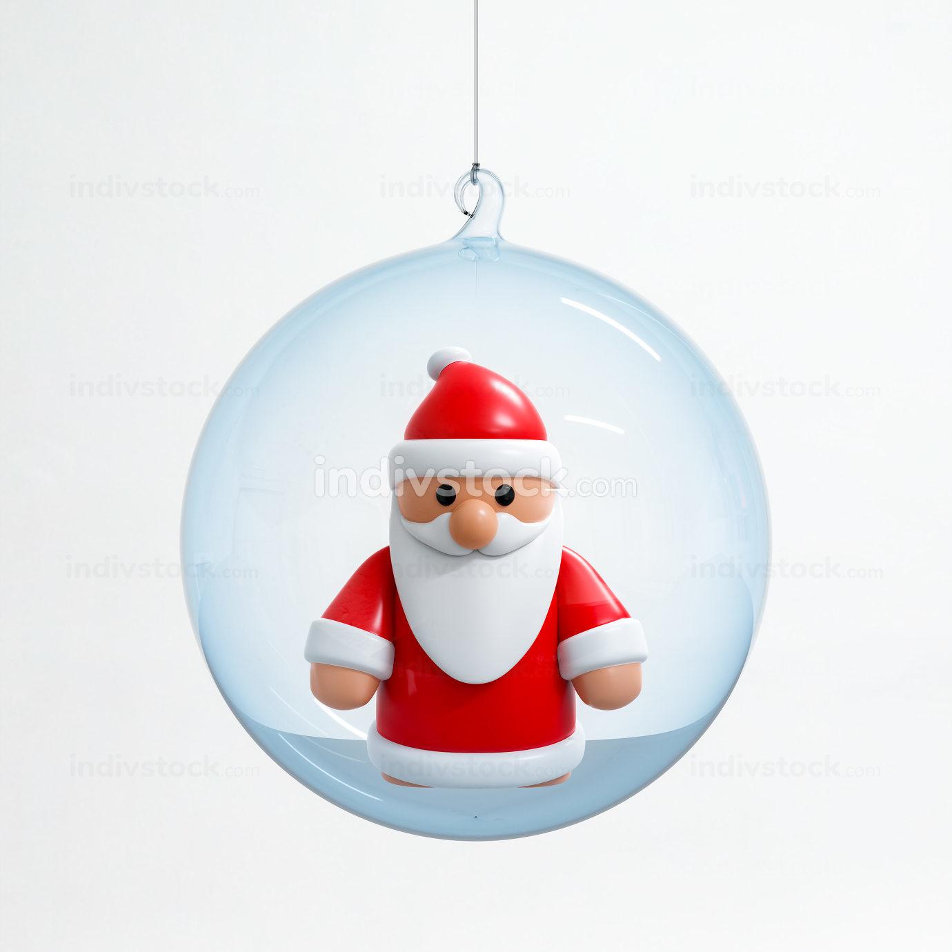Santa Claus inside a Christmas ball, 3D illustration