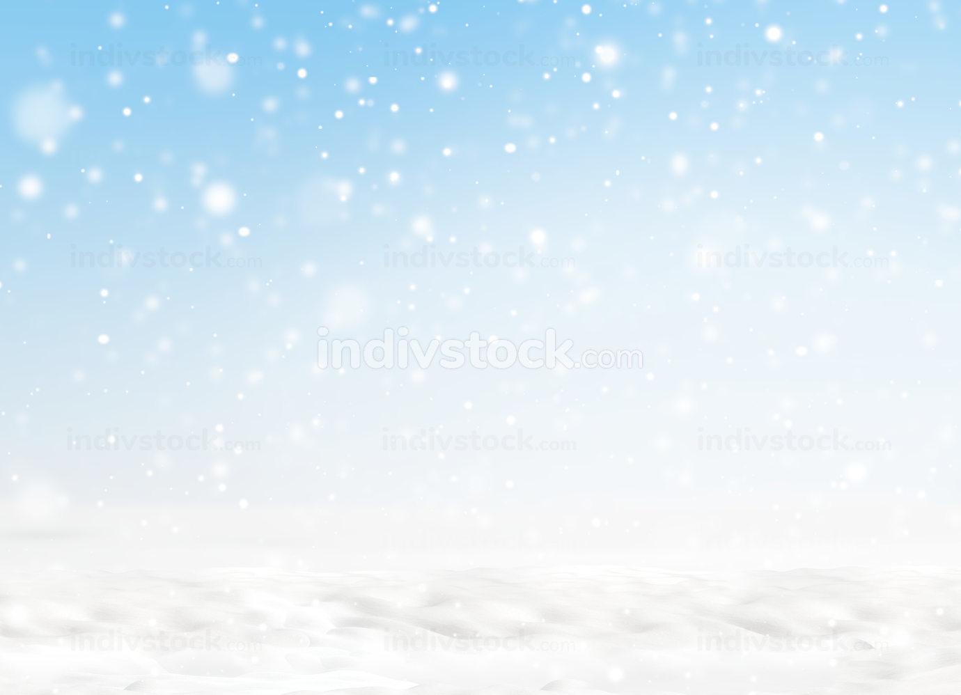 snowflakes and snow with light blue sky background 3d-illustration