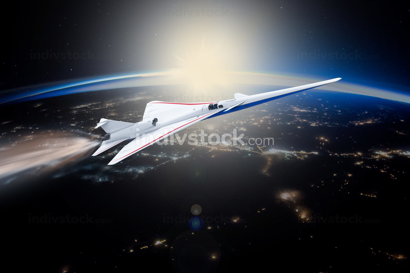 Spaceship launching from planet Earth into other planets. Elements of this image furnished by NASA