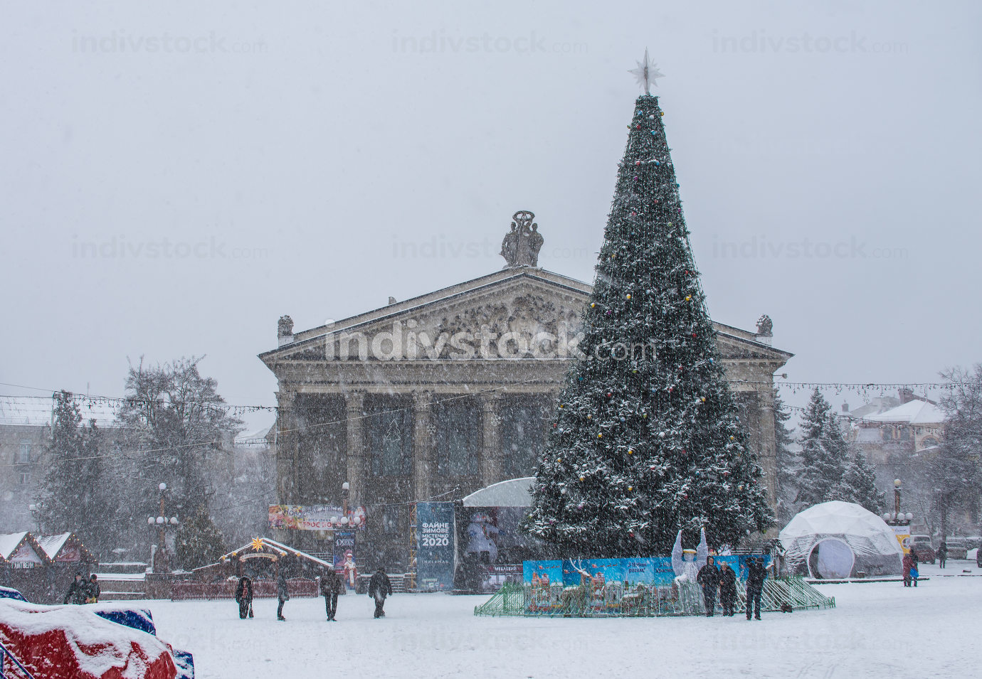 Ternopil, Ukraine 01.05.2020.  Volya Maidan and Danylo Halytskyi Monument in Ternopol, Ukraine, on a snowy winter morning
