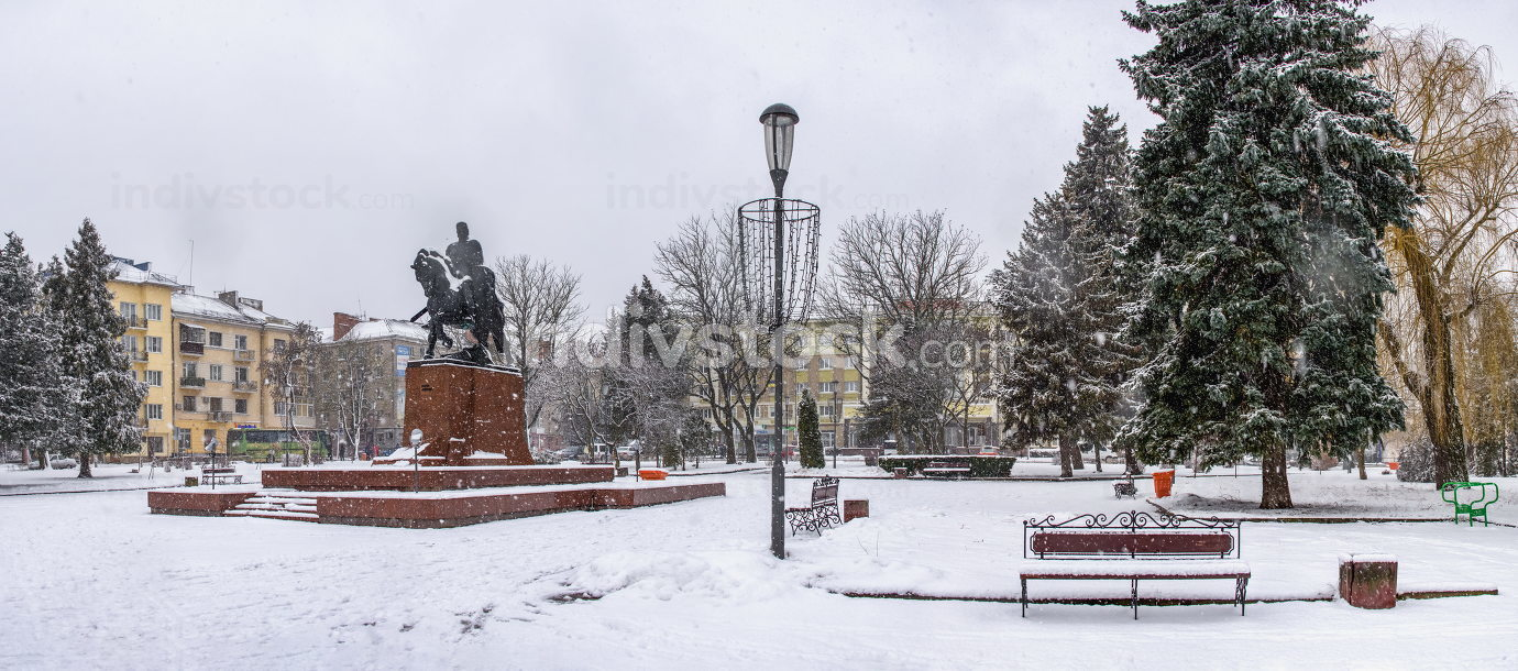 Ternopil, Ukraine 01.05.2020.  Volya Maidan and Danylo Halytskyi Monument in Ternopol, Ukraine, on a snowy winter morning