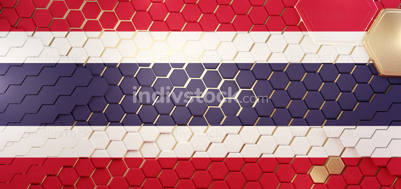 Thailand hexagonal grid pattern design 3d-illustration backgroun