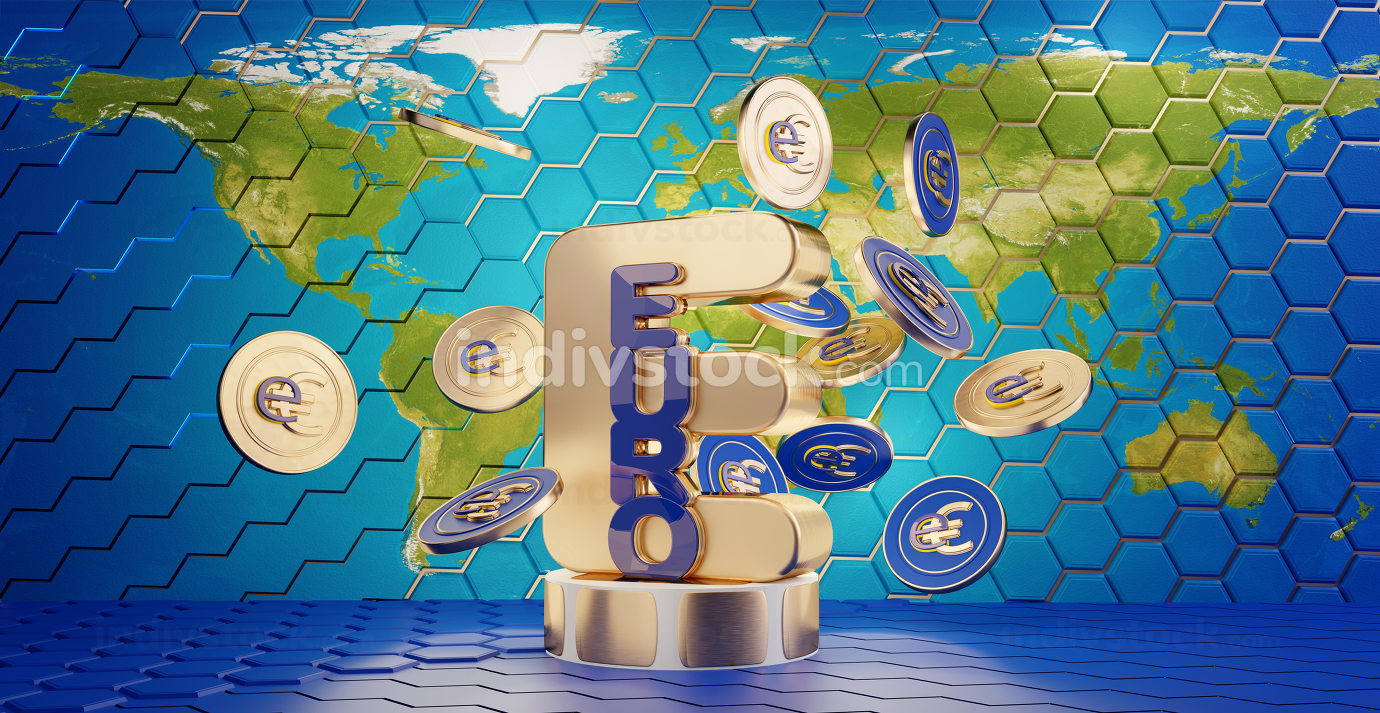the digital euro, e-euro, with the world map as background, coins in the foreground 3d-illustration. elements of this image furnished by NASA