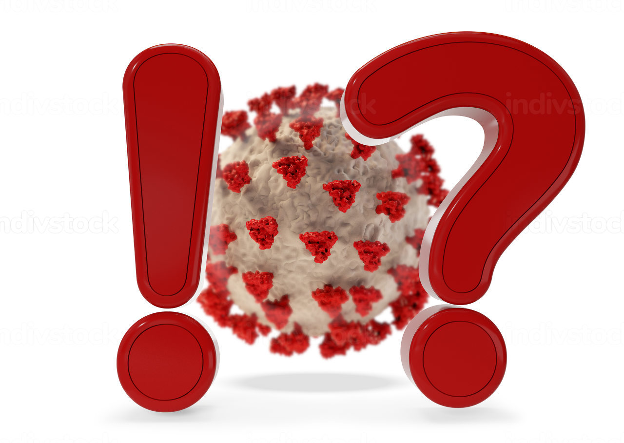 virus cell exclamation mark and question mark 3d-illustration
