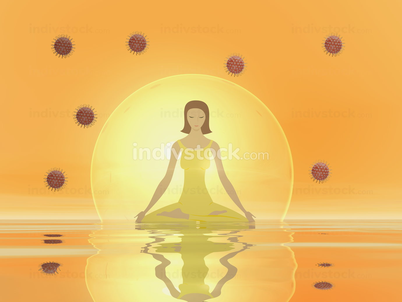 Woman meditation to protect from corona covid virus-3D render